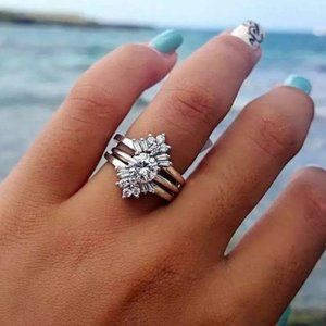 925 Sterling Silver White Sapphire Ring